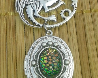 Dragon Dance - oval locket - Song of Ice and Fire fantasy necklace mythical gothic serpent snake skin Daenerys Mother of Dragons