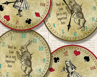 Alice in Wonderland Clocks printable party decor diy paper crafting craft digital instant download digital collage sheet - VDCLAL1334
