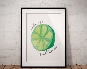 Lime Watercolor Print - Instant Download