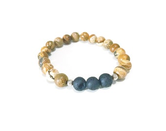 Lava Bead Essential Oil Diffuser Stretch Bracelet