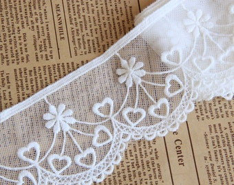 2 Yards Lace Trim White Tulle Flower Heart Wedding Trim 2.36 inches width
