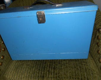 Metal Portable File Box Blue