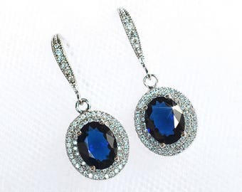 Handmade Blue Sapphire & Clear Micro-Pave Cubic Zirconia CZ Halo Dangle Bridal Earrings, Bridal, Wedding (Sparkle-2314)
