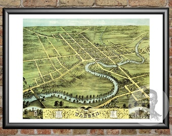 Warren, Ohio Art Print From 1870 - Digitally Restored Old Warren, OH Map - Perfect For Fans Of Ohio History