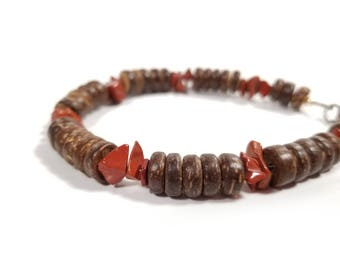 Tribal men's bracelet - wood bracelet for men - Red Jasper