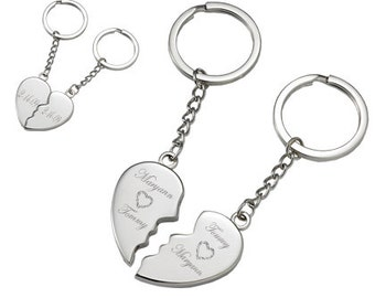 Best Friends Keychain, Couple Keychain, Magnetic Broken Heart Keychain, Custom Engraved Free, His And Hers Keychain, Anniversary Gifts