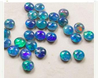 SALE AAA natural Australian Opal Cabochon Round 5mm,  Opal Triplet Gemstone