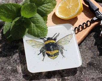 Bee Coaster - Recycled Glass Drinks Mat, Countryside Animal Gift, Country Kitchen, Gift Under 5