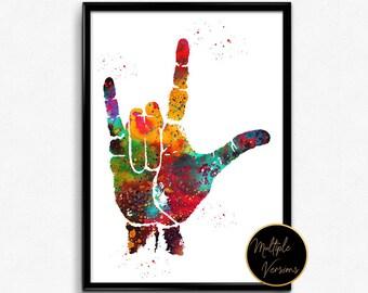 I Love You, ASL Hand Print,Sign Language, Watercolor Print,  Poster, I Love You Art Print, Love Wall Art(1184)