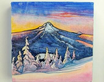 Mt Hood, art print,digital print,snow,mountain art,mountain painting,ink,Oregon,bend,Portland,sunrise,blue,nature,abstract art,8x8