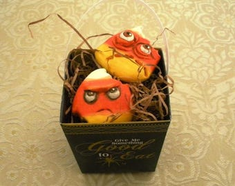 Halloween Candy Corn Comes Alive!  Charming OOAK Ornaments by Lori Gutierrez!