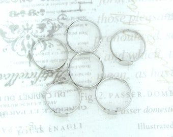 Antiqued Silver Adjustable Ring 7mm Pad Ring Cabochon Ring Setting Glue Pad Ring Ring Blank