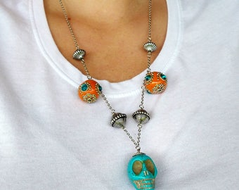 Day of The Dead Skull Necklace and Earring Set - skull necklace - dia de los muertos jewelry - skull jewelry