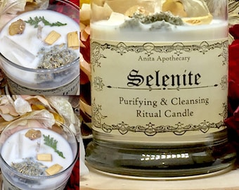 Selenite Ritual Candle~Cleansing, Altar, Pagan, Witch, Witchcraft, Wicca, Magick, Divination, Spirits, Sage, Crystal grid