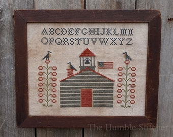 Schoolhouse Sampler...Primitive PAPER Cross Stitch Pattern By The Humble Stitcher