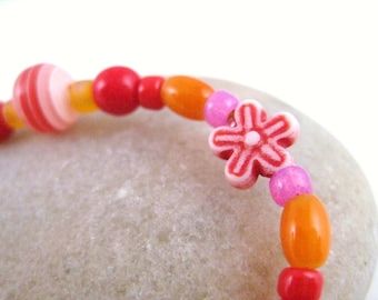 Red and Orange Beaded Bracelet with Red Flowers, Large Girls Bracelet, GBL 104