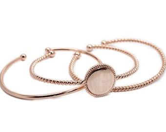 Triple Bangle Bracelet - Monogram Bracelet - Engraved Bracelet - Bridesmaid Gift - Wedding Gift - Christmas Gift - Gold - Silver - Rose Gold