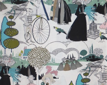 Sage Green and Mauve A Ghastlie Pastoral Print Pure Coton Fabric--By the Yard