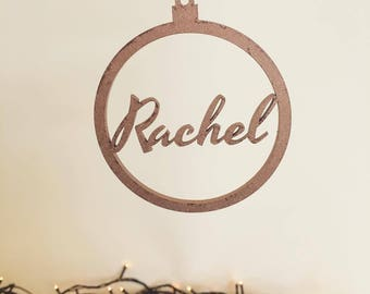 Your Name Bauble Christmas Tree Ornaments / Lasercut and painted