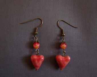 Red heart ceramic and millefiori bead earrings