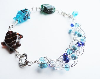 Large Handmade Wire Crochet and Lampwork Fish Ocean Bracelet By Distinctly Daisy