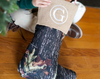 Woods Christmas Stocking-Monogram included--Natural--Personalized Stocking