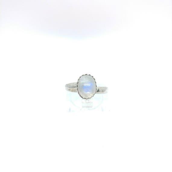 Simple Moonstone Ring   Rainbow Moonstone Ring   Sterling Silver Ring Sz 6.5   Simple White Ring   June Birthstone Ring   Blue Moonstone
