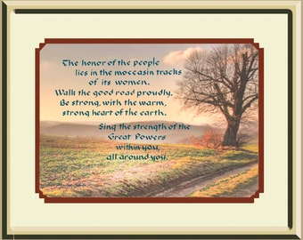 Women are the Honor and Strength of the People Native American hand lettered framed print-Great Mother's Day Gift
