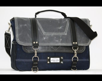 Waxed Canvas Messenger bag - laptop bag handmade by Alex M Lynch - 010049