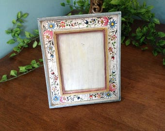 Vintage Painted Picture Frame, Handpainted Frame Peru, 7x6 Painted Picture Frame, Floral Painted Frame, Wood Painted Frame