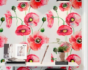 Watercolour Poppy Flower Print Temporary Wallpaper, Vinyl Wallpaper, Removable Wall Decals, Floral Wallpaper, Home Decor, 151