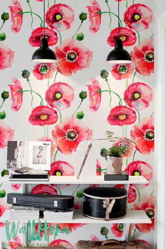 Watercolour Poppy Flower Print Temporary Wallpaper Vinyl