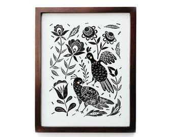 Swedish Folk- Handprinted Linocut Print