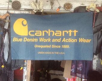 "Vintage Carhartt's Clothing Retail Advertising Denim Banner 24"" X 44"""