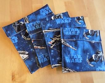 Set of 4 Star wars reusable snack bags