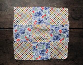 Antique Linen,quilt, quilt square, pieced quilt, cotton, 1930s