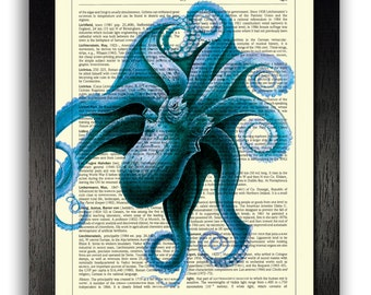 Bathroom Wall Art The Creature From Below, Dark Blue Octopus Print, Dictionary Page Art, Nautical Ocean Sea Life Wall Decor, Bathroom Print