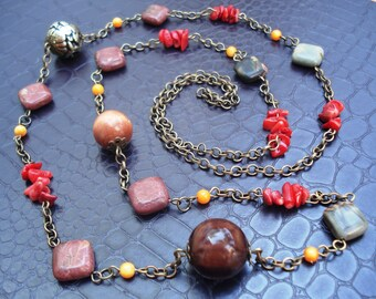 Bohemian Style Natural Colors  Jasper Red Coral  Gemstones Bronze Long Chain Elegant Gift Ladies Necklaces