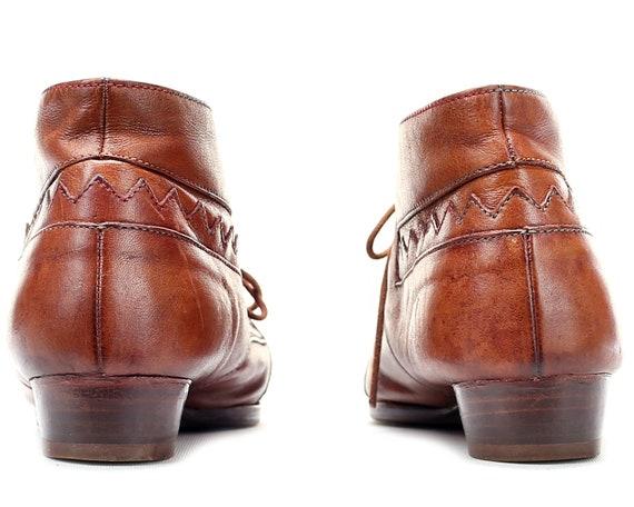 Hipster 8 Vintage Zig men Zag 5 UK Shoes Booties 90s Pattern Eur Unisex Shoes Lace Ethnic 8 5 Leather US Boots Up Aztec Brown 41 Boho Soft wIq7ZIx