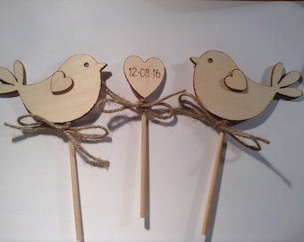 Simple Wedding Cake Toppers Birds Rustic Woodland Love bird topper Customized