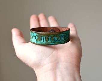 Personalized Pet Loss Bracelet, Custom Pet Memorial Bracelet, Pet loss Jewelry, Leather Wrap Bracelet, 3/4'' wide, Create your own bracelet