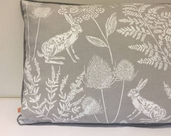 Piped oblong cushion/pillow Cover - Grey and White Woodland Scene