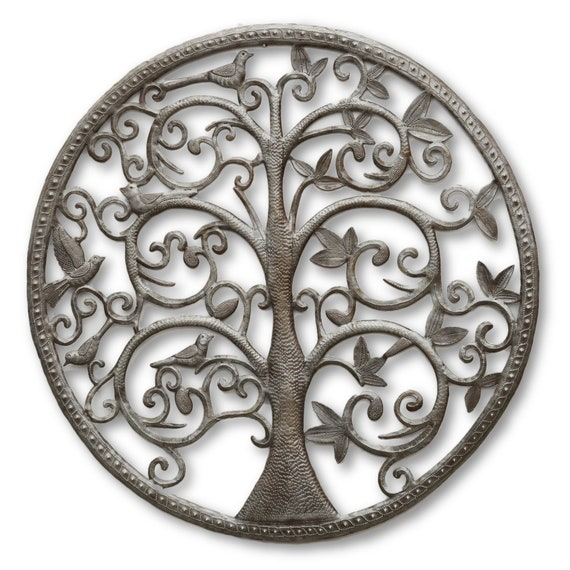 Framed Tree of Life, Quality Handcrafted Haitian Metal Sculpture, One-of-a-Kind 23.5 x 23.5