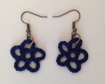 Blue Tatted Flower Earrings