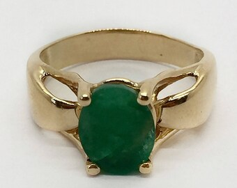 14k Vintage Handmade Yellow Gold 2 Ct Natural Oval Emerald Womens Ring Size 6.25