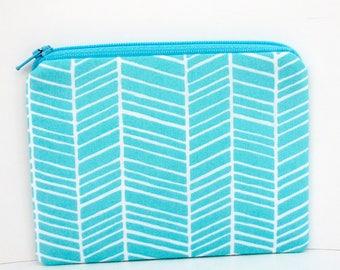 Small Zippered Pouch, Ocean Blue Herringbone Stripes, Coin Purse, Zip Bag
