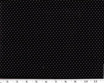 1 Yard, VIP Small Gray Dots on Black