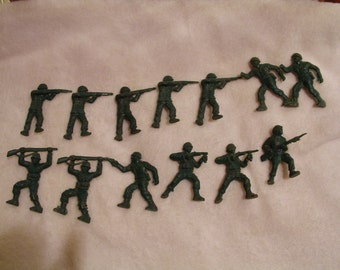 Reduced 13 Vintage Green Plastic  Army Men Toys 1950's