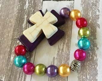 Bracelet Multicolored Pearlized Round Beads with Purple and Cream Colored Howlite Cross Stretch Bracelet
