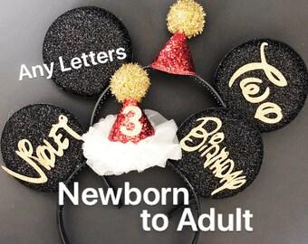 Mickey & Minnie Ears,Birthday Mickey Ears, Birthday Minnie Ears,Personalized Ears,Customized Ears,Ears Headband,Minnie Elastic Headband,